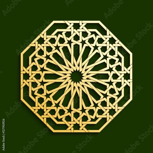 Islamic Golden Geometric Pattern. Vector Muslim Mosaic, Persian Motif.  Oriental Ornaments, Traditional