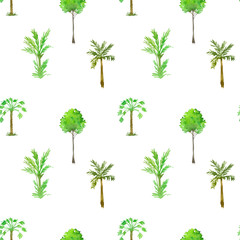 seamless pattern with palm trees drawing by watercolor