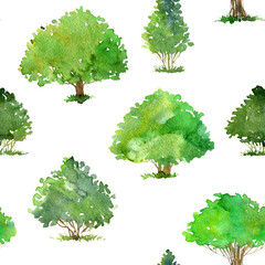 seamless pattern with watercolor drawing trees