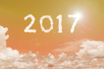 2017 clouds on the clear blue sky