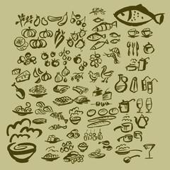 vector sketch food icon set