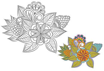 Black and white floral design element.