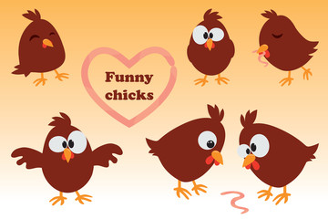 Cute cartoon set Chicken. Funny brown  in different positions, vector illustration.
