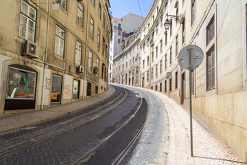 a winding road in Lisbon