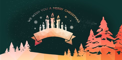 Composite image of graphic christmas message with candles
