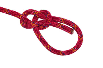 bowline knot red rope.