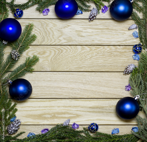 New Years Border Frame From Christmas Tree Fir Branches Silver Pine Cones