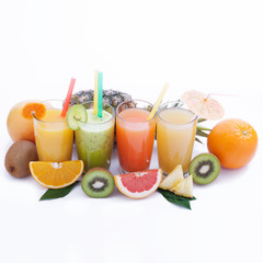 Fruits smoothies, summer cool drinks top view macro isolated