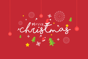 Merry Christmas Typography Vector. Can use for Banner, Greeting Card, and Invitation card.