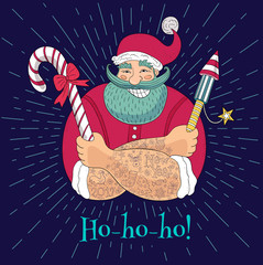 New Year in sketch style. Hipster tattooed Santa Claus. Funny cartoon, character, candy, firecracker, fireworks. Hand drawn vector illustration.
