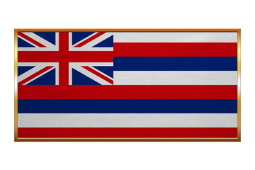Flag of Hawaii , golden frame, fabric texture