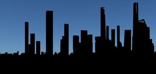 3d skyline of a city, silhouette over blue sky