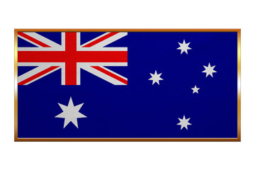 Flag of Australia, golden frame, fabric texture