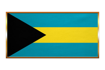 Flag of Bahamas, golden frame, fabric texture