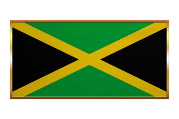 Flag of Jamaica , golden frame, fabric texture