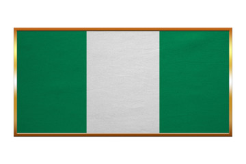 Flag of Nigeria , golden frame, fabric texture