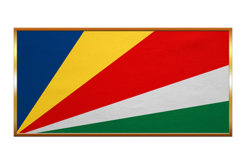 Flag of Seychelles , golden frame, fabric texture