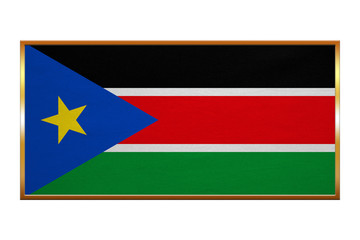 Flag of South Sudan , golden frame, fabric texture