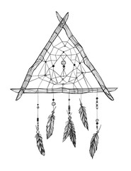Hand drawn vector illustration - Dreamcatcher. Tribal design ele