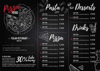 Hand drawn vector illustration - Italian menu. Pasta and Pizza.