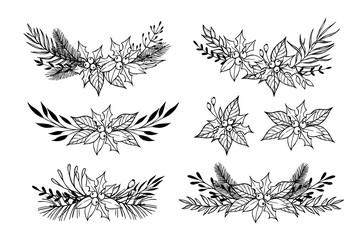 Hand drawn vector set of winter wreaths ( laurel, leaf, holly, f