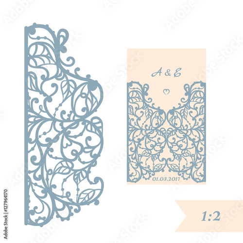 Wedding invitation or greeting card with abstract ornament vector wedding invitation or greeting card with abstract ornament vector envelope template for laser cutting m4hsunfo