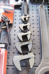 Set adjustable wrenches in store