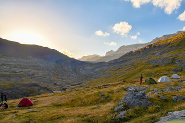 Camping in the Pyrenees, Ordessa Valley, Spain
