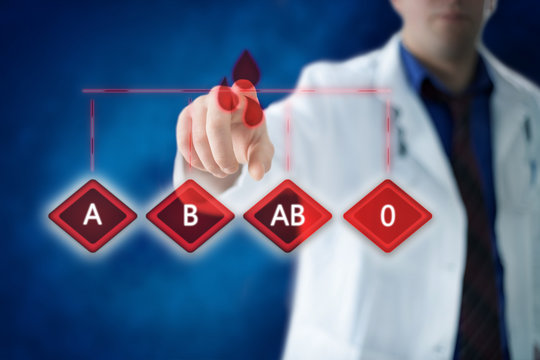Blood type medical concept with doctor in the background