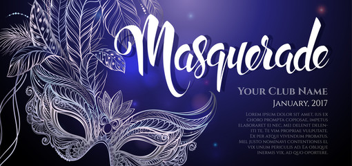 "Vector Illustration. Silver carnival mask with feathers. Beautiful concept design with hand drawn lettering ""Masquerade"" for greeting card, banner or flyer."