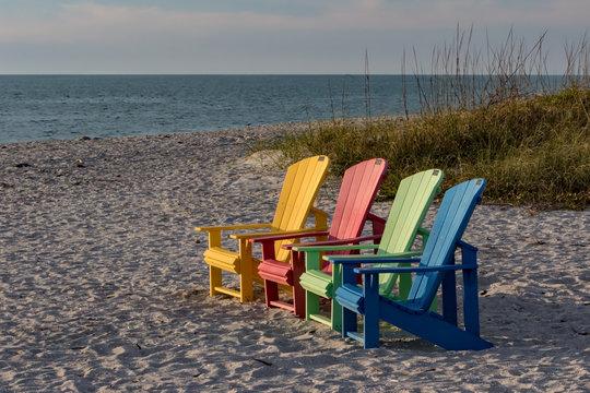 Colorful chairs on the beach on Captiva Island, Florida.