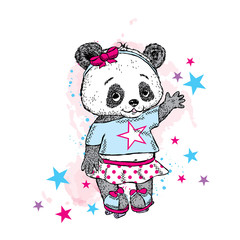 Cute Panda on roller skates. Pretty girl in a skirt. Vector illustration for a card or poster. Print on clothes. Childhood. Fashion & Style.