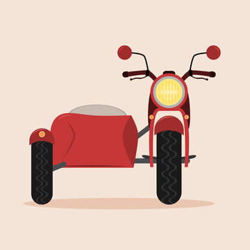 Vintage motorcycle with sidecar. Isolated vector illustration. Red color.