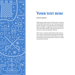 Poster, flyer with medieval line icons, symbols. Crossed sabres, medieval tower, torch, Viking ship, boat, knight cross, chain. Vector template with medieval design elements and place for your text.