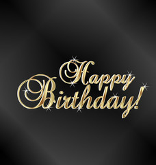 Happy birthday gold words vector design