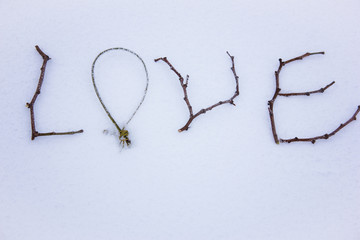 sign made of wood in the snow. St. Valentine's Day.