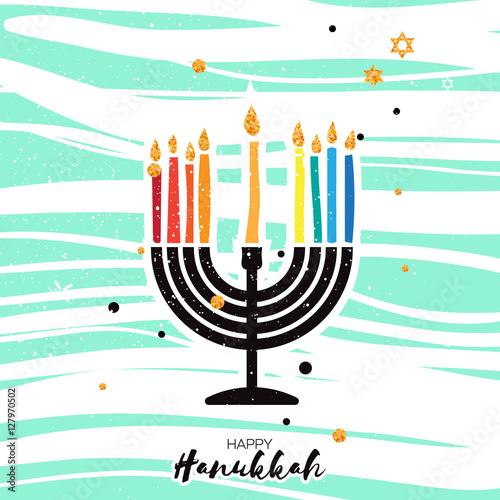 Cute happy hanukkah greeting card jewish holiday with menorah cute happy hanukkah greeting card jewish holiday with menorah m4hsunfo