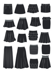 Silhouettes of different skirts