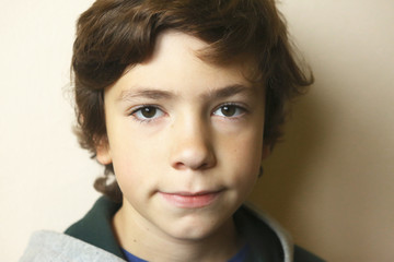 close up portrait of european teen boy