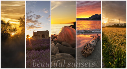 collage of photos of landscapes at sunset - all pics are in my portfolio