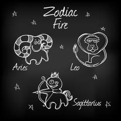 Chalk icons of zodiac