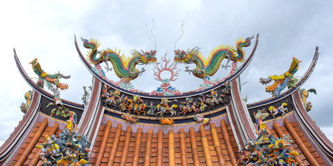 Dragon sculpture on rooftop of Guandu Temple in Taipei, Taiwan