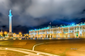 Alexander Column and Winter Palace in St. Petersburg, Russia