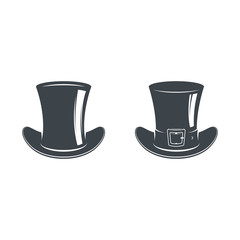 Set of bowler hats and cylinders. Vintage style. Vector illustration. Gentleman. Focus. Logo template.