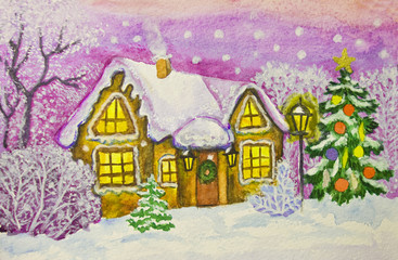 Christmas house, painting