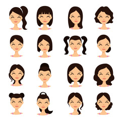Womens hairstyles. Beautiful young girl with various hair styles vector illustration