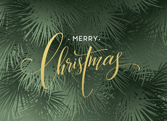 Christmas Tree Branches Border with handwriting Lettering. Vector Illustration