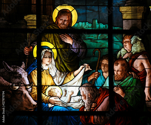 Fototapete Nativity Scene at Christmas - Stained Glass