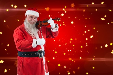 Composite image of smiling santa claus playing violin
