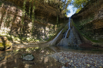 Bariyalskiy waterfall in green tropical forest in Abkhazia.